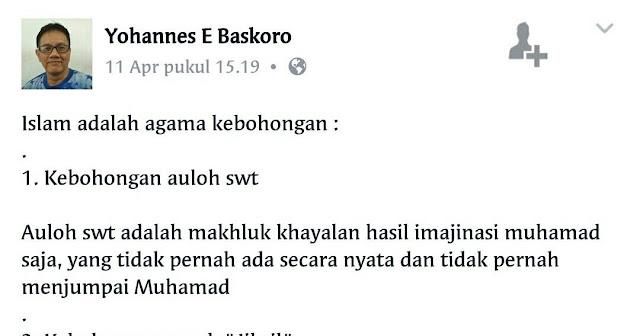 [Tercyduk] Hina Nabi Muhammad dan Islam di Facebook, Yohanes E Baskoro Diringkus