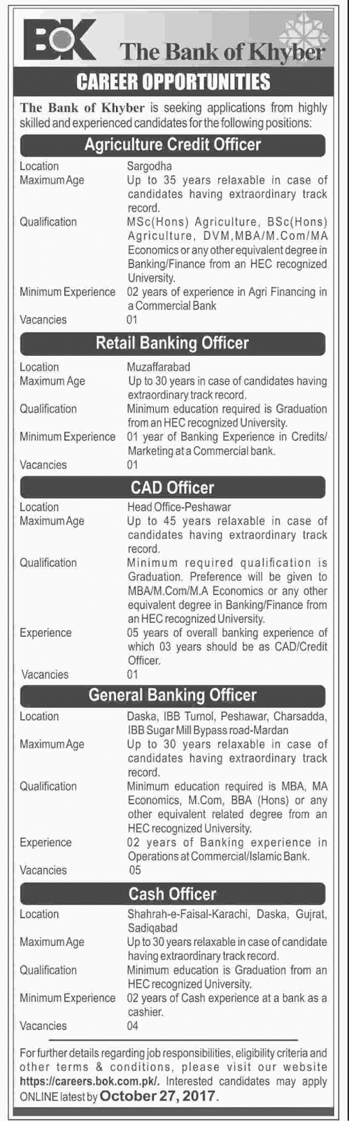 Jobs in The Bank Of Khyber October 2017.