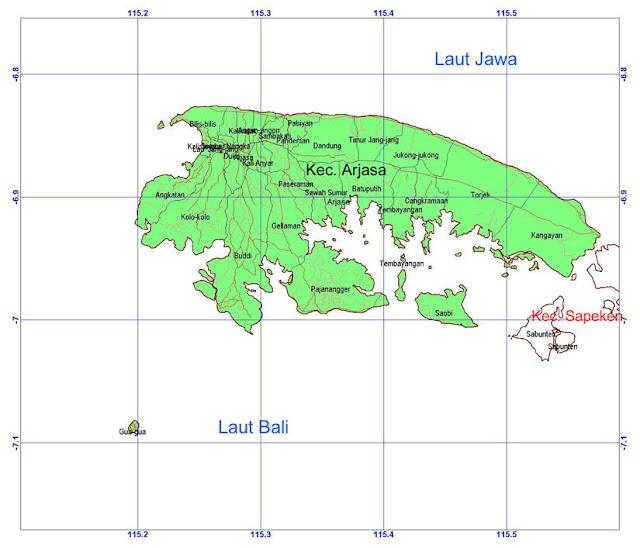 Peta dan Luas Wilayah Kecamatan Arjasa