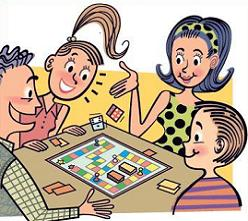 Picture of family playing board game