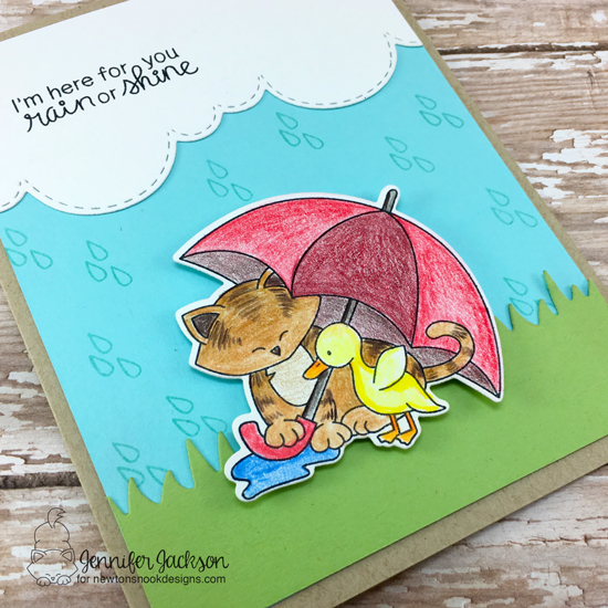 Rain or Shine card by Jennifer Jackson | Newton's Rainy Day stamp set by Newton's Nook Designs #newtonsnook