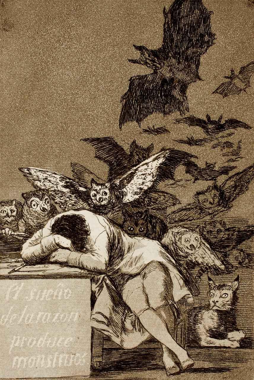 O sono da razão produz monstros. Francisco Goya (1746 - 1828), Museu do Prado.