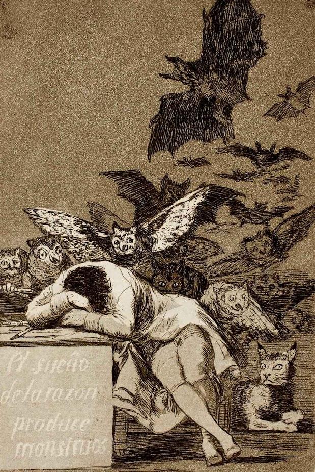 O sono da razão e da Fé em Lutero e em seus seguidores produziu monstros. Francisco Goya, (1746-1828). Museu do Prado, Madri.