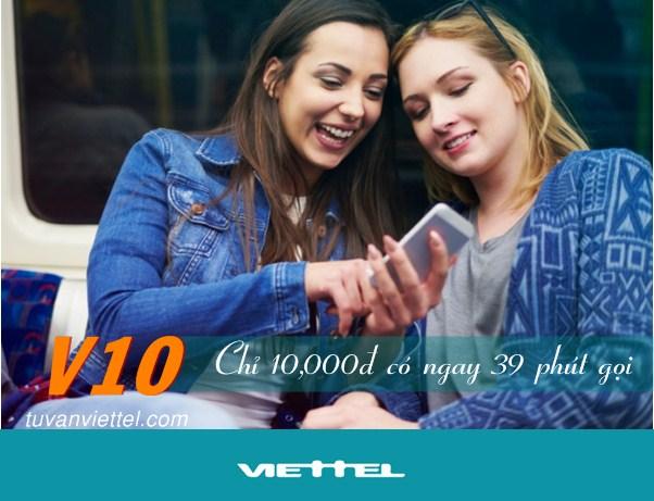 Tận hưởng 39 phút thoại khi đăng ký gói V10 Viettel chỉ 10.000đ