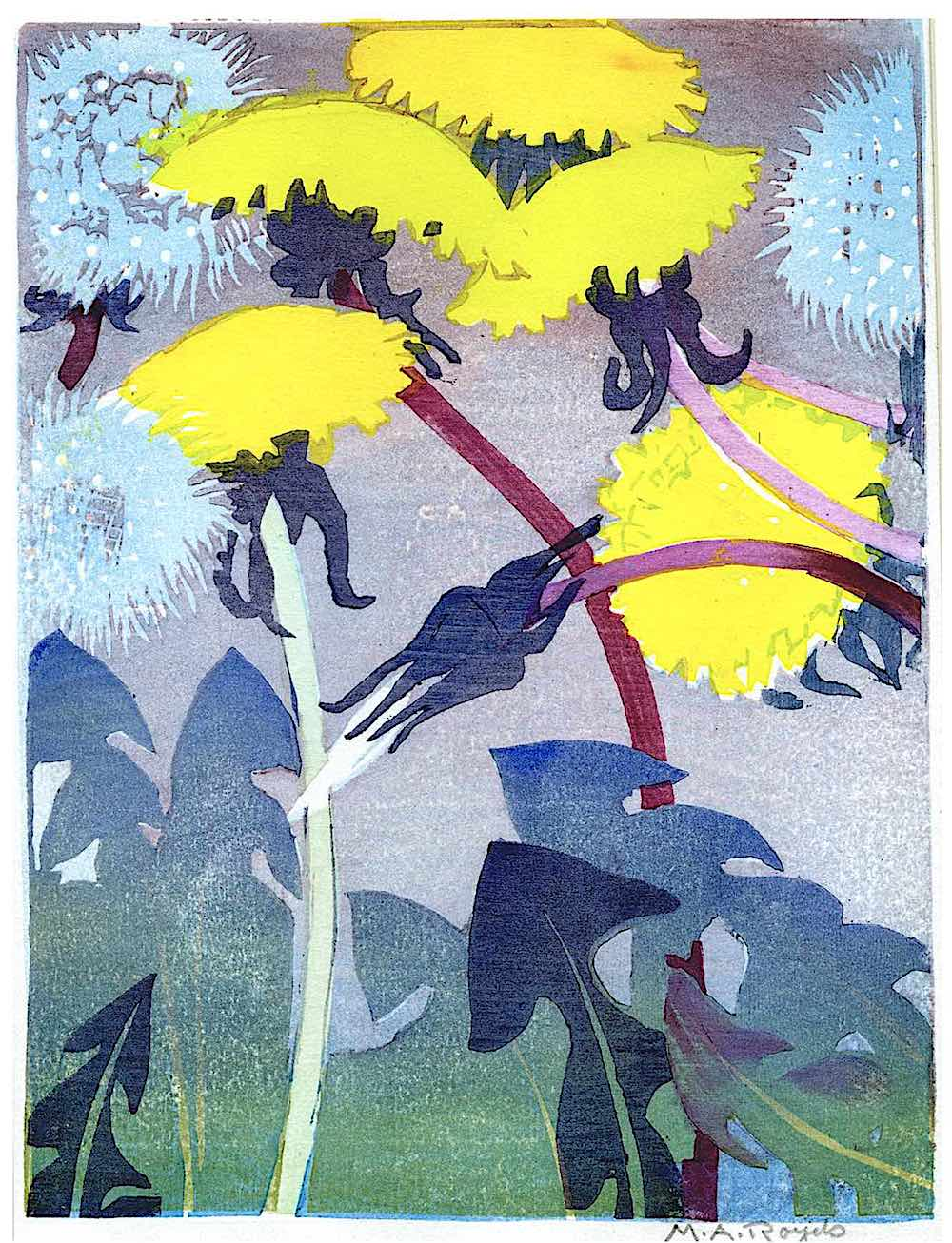 a print by Mabel Royds of wild dandelions