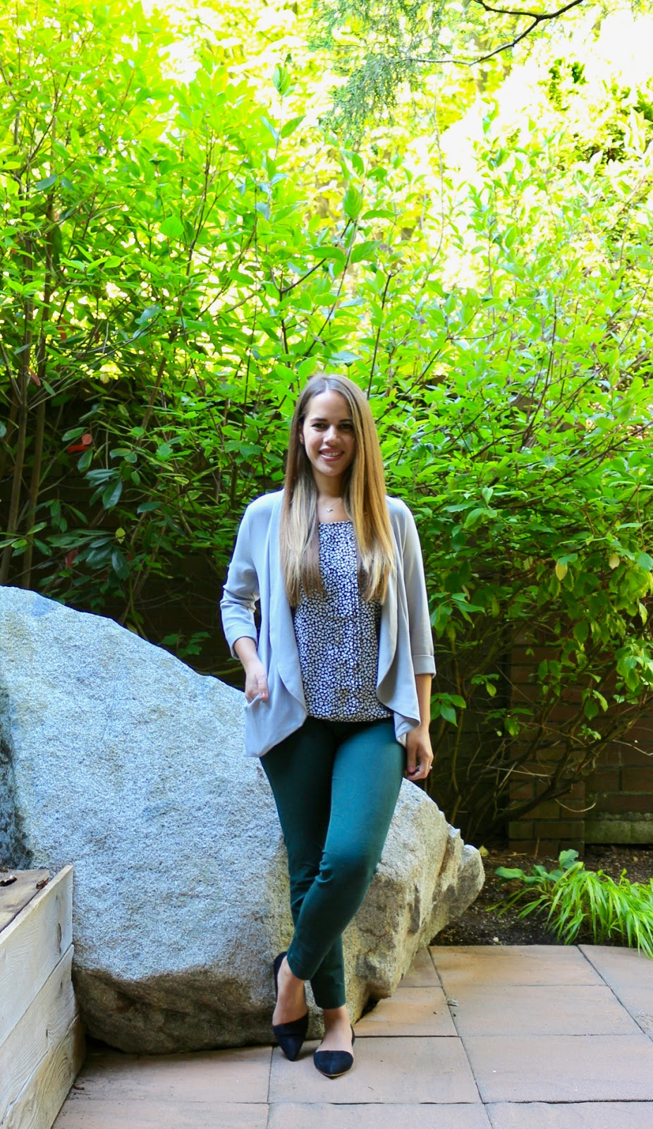 Jules in Flats - Heart Print Tank with Green Ankle Pants (Business Casual Spring Workwear on a Budget)