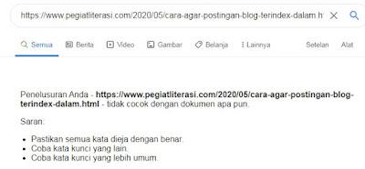 tanda-tanda postingan blog belum terindeks oleh google