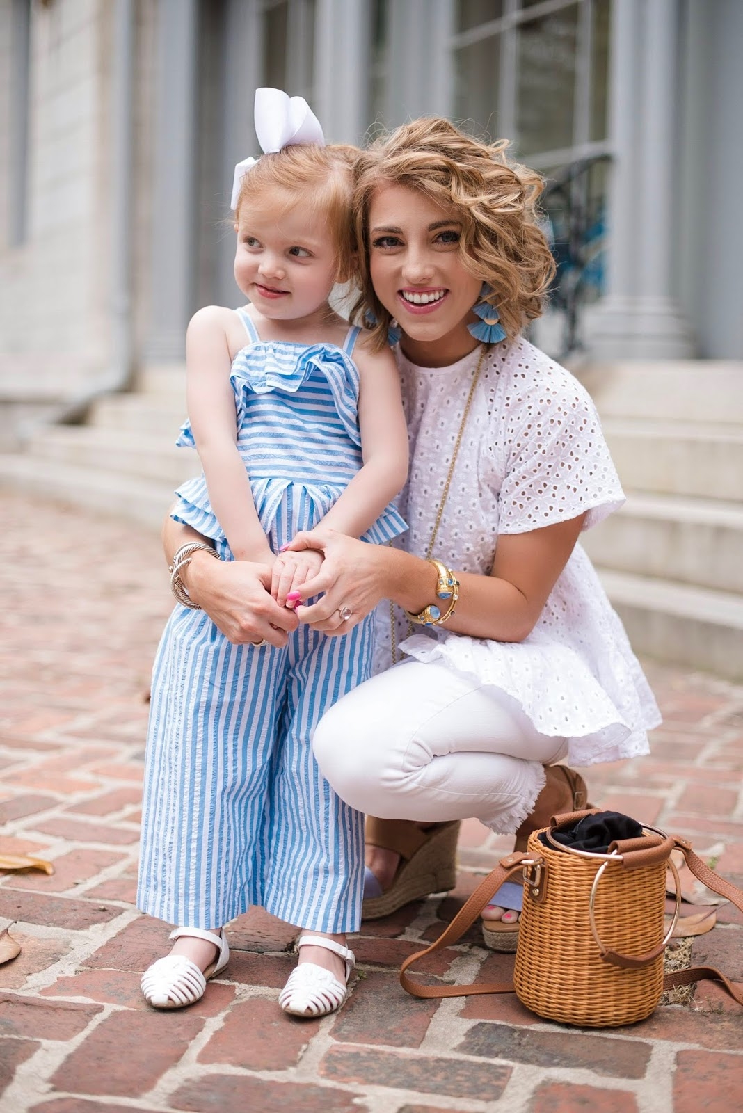 Mommy and me in blue and white - Something Delightful Blog
