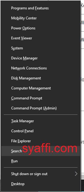 23. Membuka Start menu kedua Windows 10 syaffi com