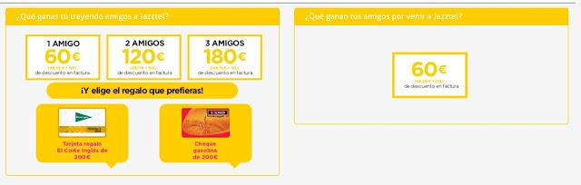 Jazztel permite conseguir hasta 180 euros de descuento en factura gracias a su plan amigo.