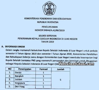 Seleksi Penerimaan Kepala Sekolah Indonesia di Luar Negeri 2019