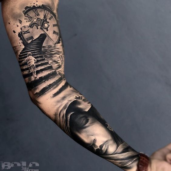 Stunning Sleeve Clock Tattoo For Men