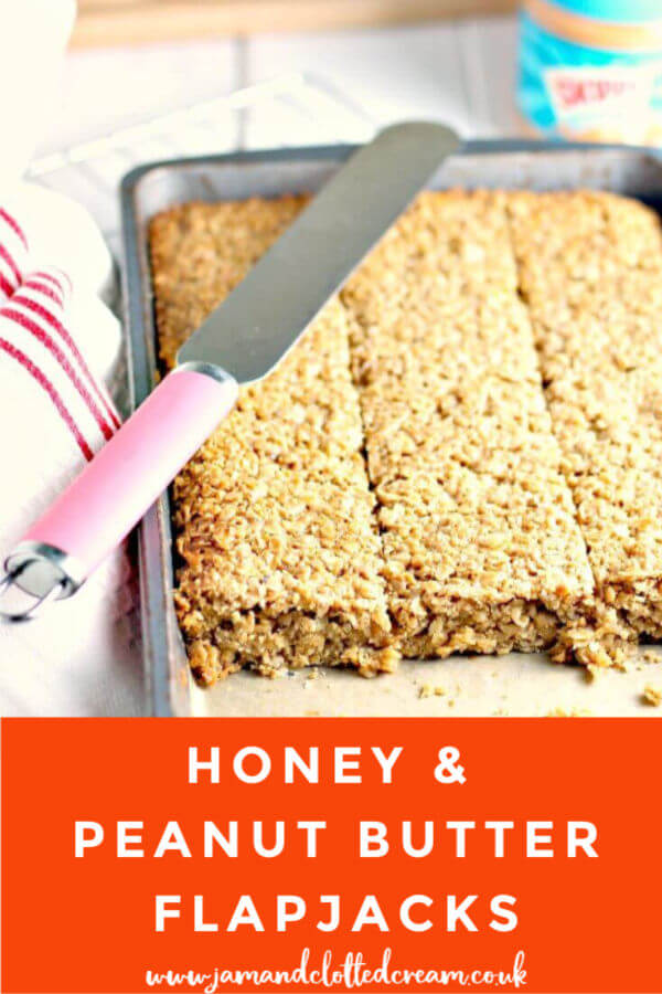 Honey and Peanut Butter Flapjacks, great for breakfasts on the go  #peanutbutter #flapjack #honey #baking #easyrecipe