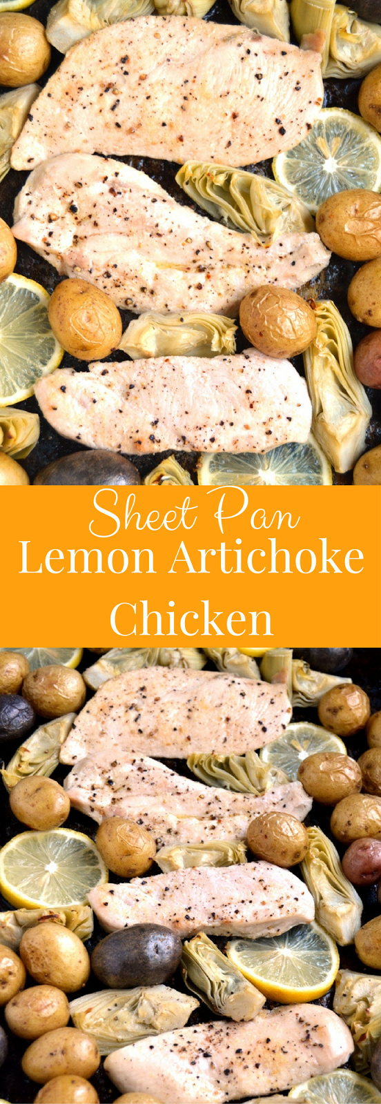 Sheet Pan Lemon Artichoke Chicken takes about 30 minutes to make, uses one pan and combines baked chicken breast with a fresh lemon sauce, roasted artichokes and baby potatoes! www.nutritionistreviews.com