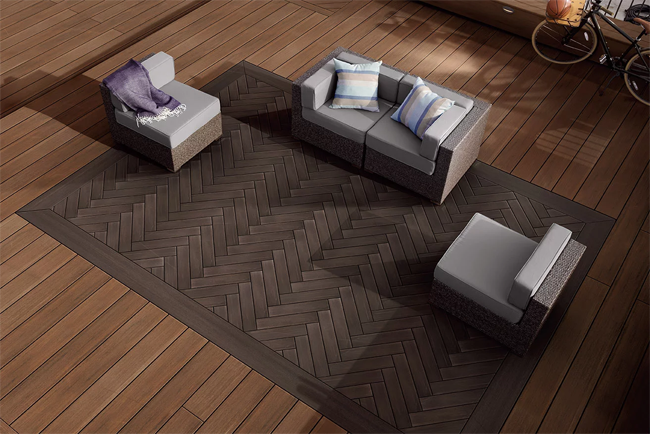 Inlaid herringbone pattern deck