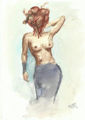 Acuarela benjamin vilella mujer monstruo