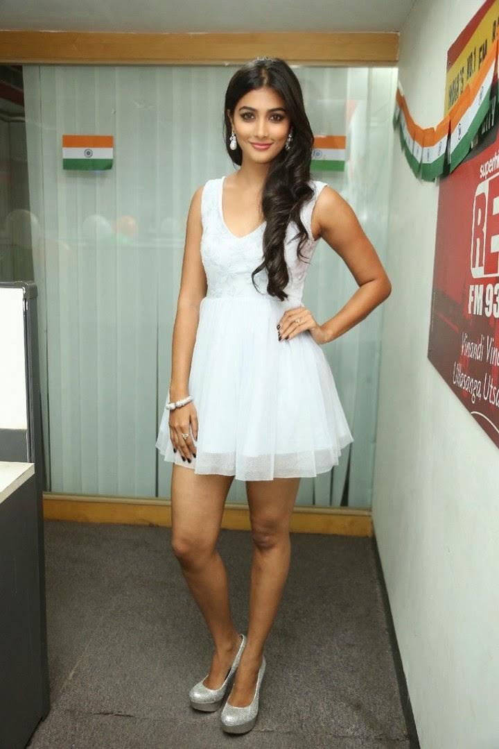 Pooja Hegde Hot Legs Show Image In Short White Dress -1261
