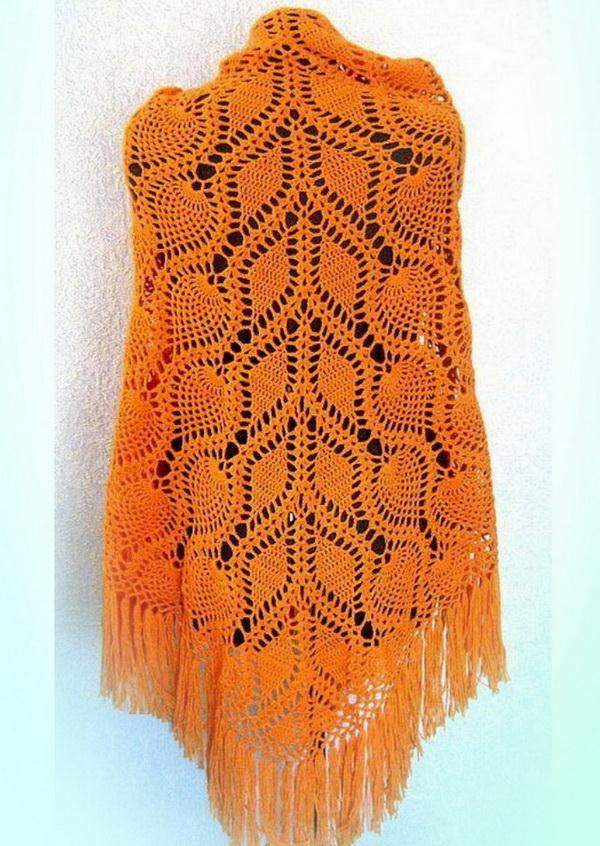 Pineapple Crochet Shawl -  Large Shawl - Vintage Crochet Pattern