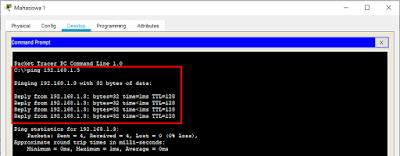 Ping setelah VLAN Aktif ke PC Mahasiswa 2