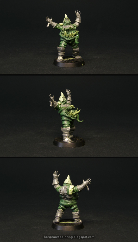 Converted tabletop miniature of Guffle Pusmaw, the Nurgle Blood Bowl Star Player. He is kitbashed out of Putrid Blightking and Nurgle Bloater elements, with greenstuff used to create the monstrous mouth on his belly. He is raising his arms in the air, preparing to catch a ball. The model is shown from several angles.