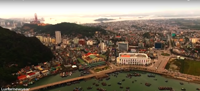 drone shot representing Hanoli city in Vietnam