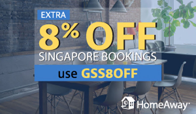 HomeAway【新加坡住宿】92折優惠碼 Discount code,民宿、私人別墅、短期住宿 適用,有效至3月30日。
