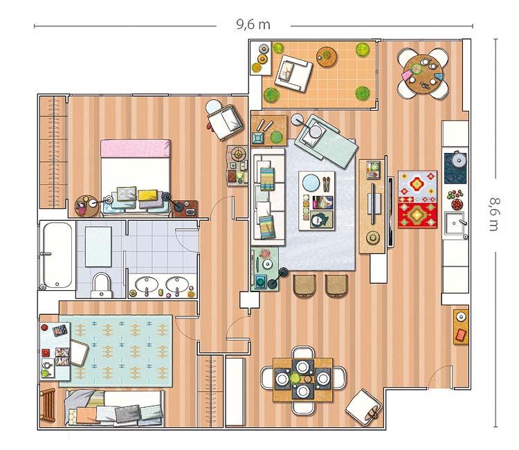 Arquitetura do im vel uma pequena casa em madri for Progetto casa interni