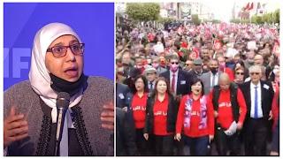 يمينة الزغلامي ما تفعله اليوم عبير موسي خطر كبير بصحة المواطنين و منتخبيها....