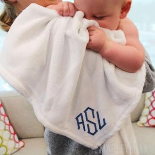 monogrammed baby blanket