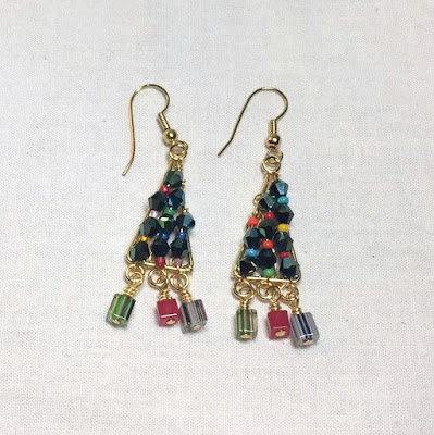 DIY Bead Holiday Earrings - Christmas Trees