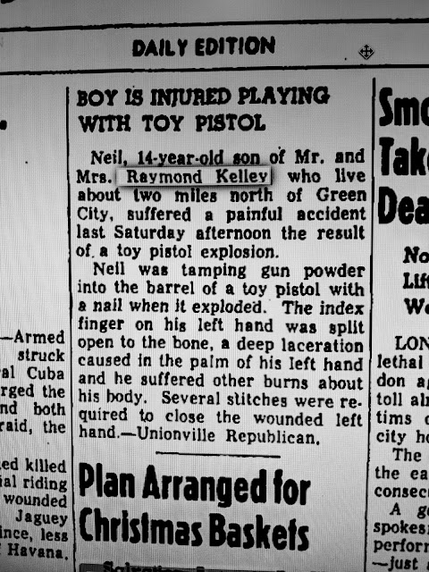 Neil, 14 year old son of Mr. and Mrs. Raymond Kelley who live about two miles north of Green City, suffered a painful accident last Saturday afternoon as the result of a toy pistol explosion.