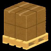 荷物が載った木製パレットのイラスト(荷台)