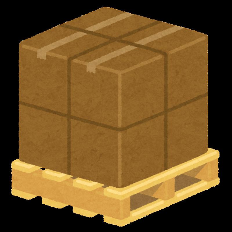荷物が載った木製パレットのイラ...
