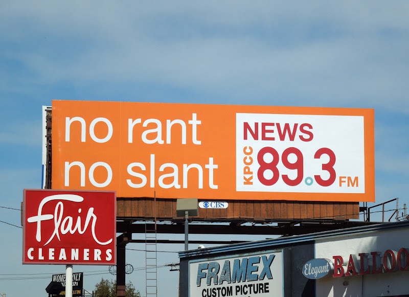 No Rant No Slant radio billboard