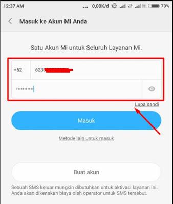 Memasukkan nomor posel sat login ke akun MI