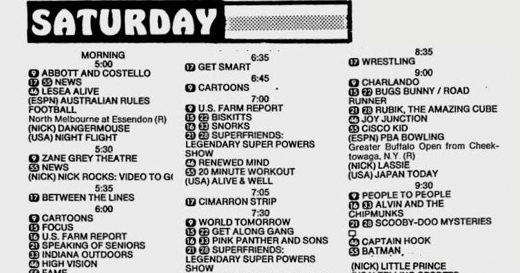 bunchojunk: Saturday Morning TV 8/17/1985