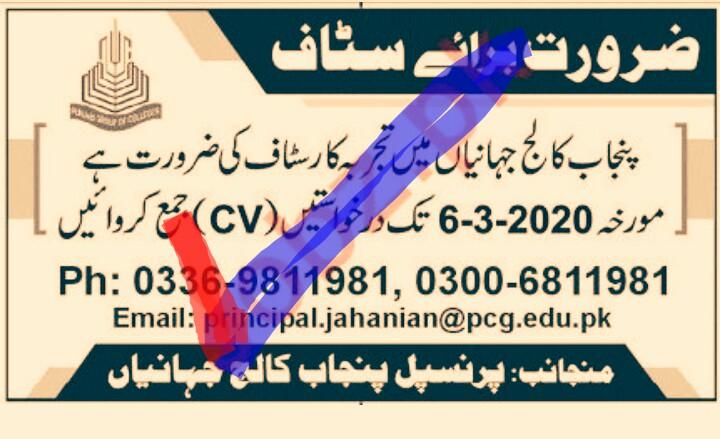 Punjab College Khanewal Jobs 2020