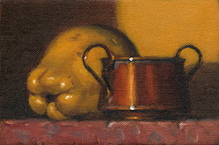 Still life oil painting of a small copper pot with handles beside a quince.