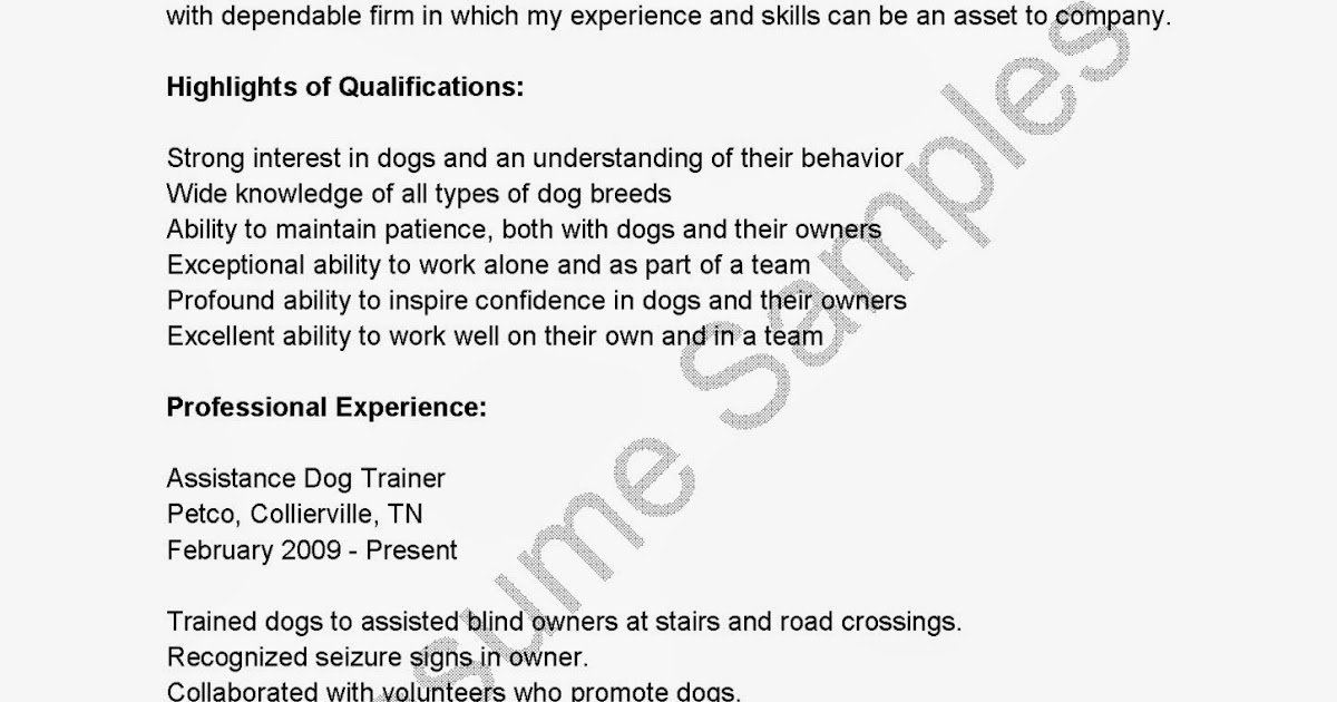 Resume Samples Assistance Dog Trainer Resume Sample - Dog Trainer Sample Resume
