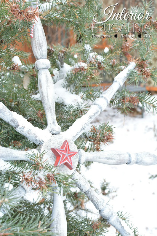 Wooden Snowflake Made From Recycled Chair Spindles
