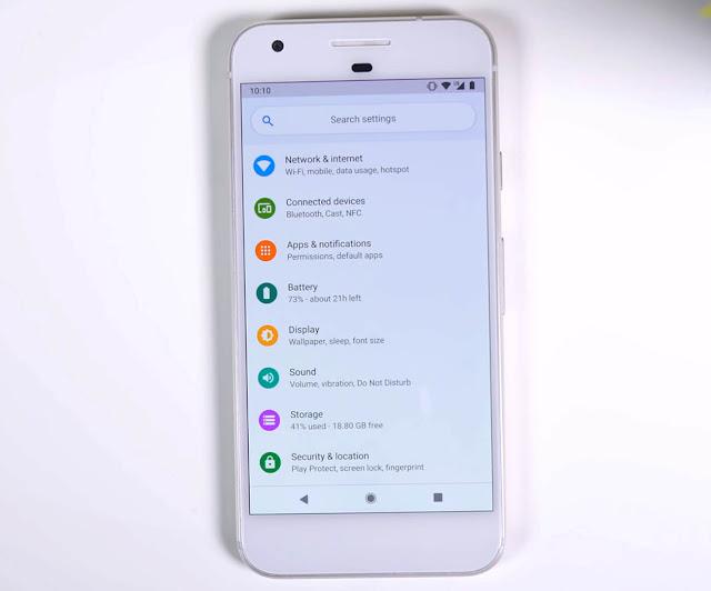 Menú de configuración de Android P Pixel XL