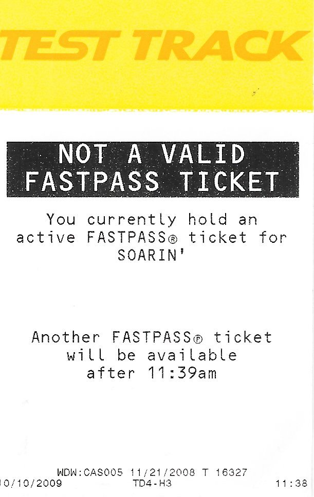 Test Track Not A Valid Fastpass Ticket Epcot Disney World