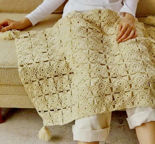 Free Crochet Pattern of A Square Motif Crochet Throw