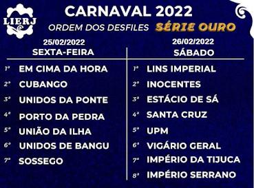 Rio Carnaval 2022 - ordem dos desfiles serie A