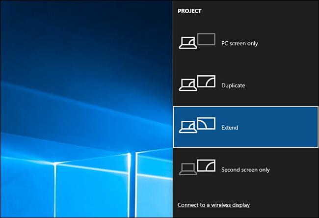 اختر خيارات المشروع في Windows 10