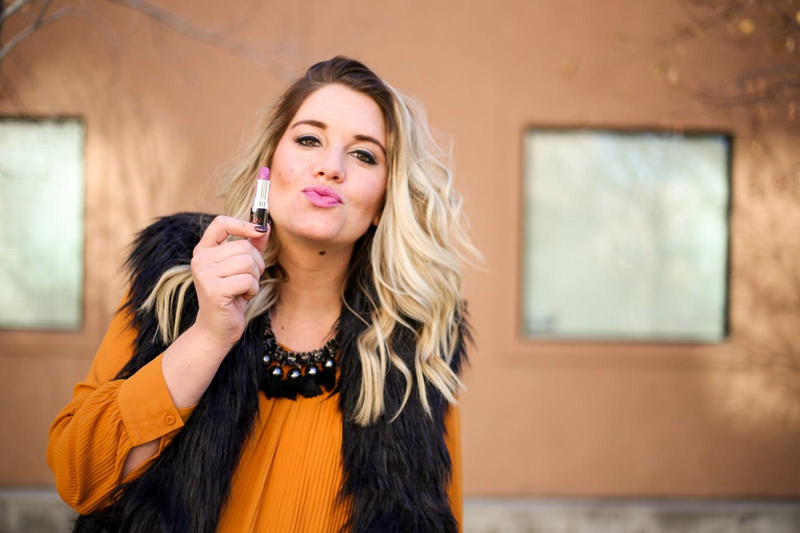 LYN'E Cosmetics, Fur Vest, Lipstick