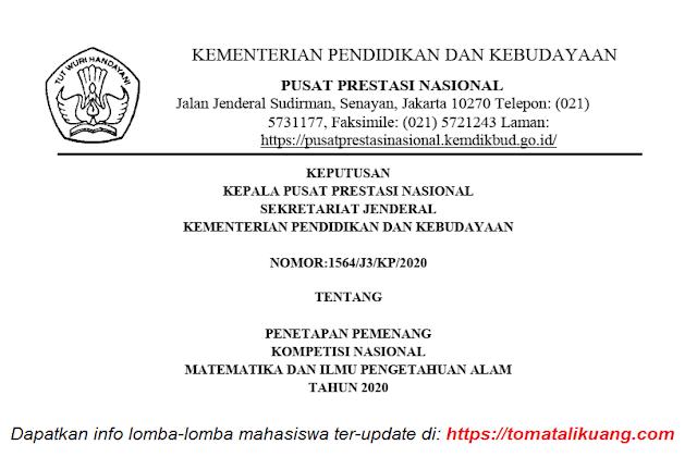 sk juara pemenang peraih medali emas perunggu honorable mention kn mipa tahun 2020 pdf tomatalikuang.com
