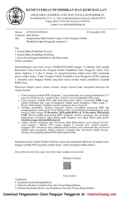 Pengumuman Hasil Seleksi Tahap 1 Calon Pengajar Penggerak CGP Angkatan 2 Tahun 2020 PDF tomatalikuang.com
