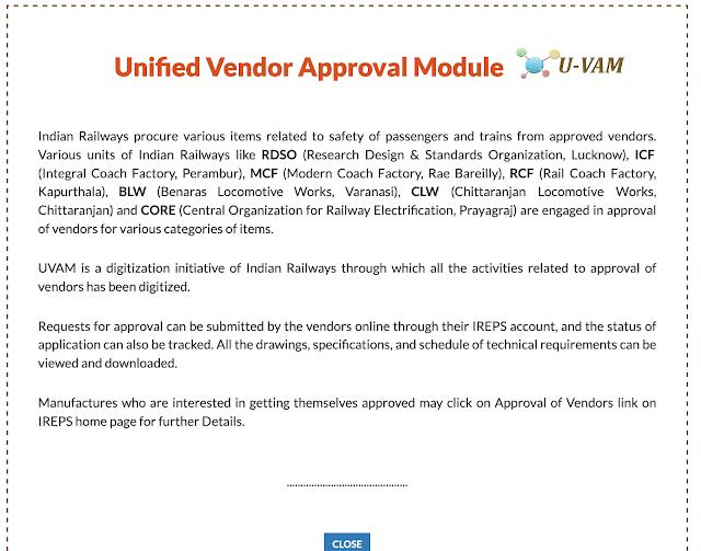 Unified Vendor Approval Module (U-VAM) on IREPS