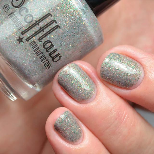 grey glitter nail polish three finger swatch